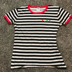 Black and White striped PINK shirt